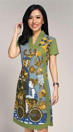 Model Dress Batik, Batik Dress, Batik Fashion, Fashion Sewing, Cute Dress Outfits, Cute Dresses, Blouse Batik Modern, Batik Kebaya, Daily Dress