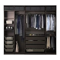 """IKEA - PAX, Wardrobe, 98 3/8x22 7/8x93 1/8 """", , 10-year Limited Warranty. Read about the terms in the Limited Warranty brochure.You can easily adapt this ready-made PAX/KOMPLEMENT combination to suit your needs and taste using the PAX planning tool.If you want to organize inside you can complement with interior organizers from the KOMPLEMENT series.Adjustable feet make it possible to compensate for any irregularities in the floor."""