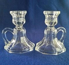 Your place to buy and sell all things handmade Vintage Candle Holders, Glass Candle Holders, Candlestick Holders, Glass Candlesticks, Anchor Hocking, Vintage Glassware, Vintage Home Decor, Unique Jewelry, Handmade Gifts