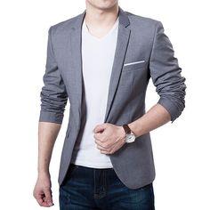 Men Slim Autumn Suit Blazer Formal Business Fashion Male Suit One Button Lapel Casual Long Sleeve Pockets Top Slim Suit, Slim Man, Slim Fit Jackets, Casual Blazer, Fall Blazer, Casual Suit, Blazers For Men, Mens Suits, Types Of Sleeves