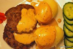 Örtfärsbiffar med gräddsås - kokt potatis - 4 port, Smartpoints: 13 smartpoints / portion utan potatis inräknad om du använder 15 % matlagningsgrädde och 10 smartpoints vid 7 % grädde.