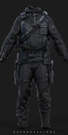 Combat Hazmat/Stealth Suit , Thiago Macedo / Macedo Designs on ArtStation at https://www.artstation.com/artwork/ezvwG