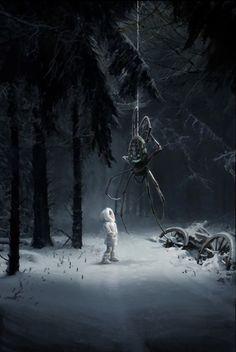 """""""Are you lost, child? Dark Fantasy Art, Roman Fantasy, Fantasy Artwork, Fantasy World, Arte Horror, Horror Art, Art Sinistre, Spider Art, Arte Obscura"""