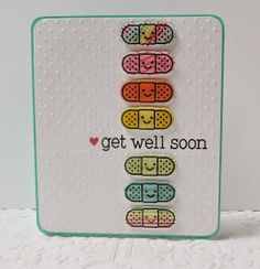 Handmade by Heather Ruwe: Stretching Your Stamps...Get Well Soon Cards