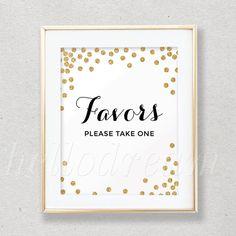 30% OFF Confetti Gold Favor Table Sign Bridal by hellodreamstudio