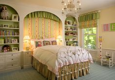 rustic window covering ideas in a green and orange bedroom | Traditional Girls Bedroom with Italian Iron Bed