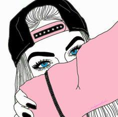 Tumblr Girl Drawing, Tumblr Drawings, Art Drawings Sketches Simple, Girly Drawings, Outline Drawings, Black Girl Cartoon, Black Girl Art, Arte Dope, Dope Art