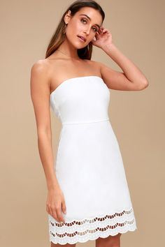 7d89917c37 Sunny Sweetheart White Lace Strapless Dress