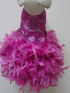 Lilac Dog Dress Sparkling Ribbon EmbroideryWith Swarovski Crystals Feather Tutu For Up to 10 Inch Back Length