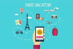 Vector path of travel through france by VectorMarket on Creative Market