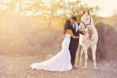 Horse Around in a Dress on itsabrideslife.com/Wedding Phototgraphy/ Wedding Photos with horses