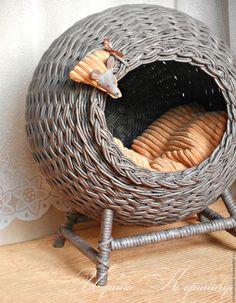 """Купить Кошкин дом """"Grey mouse"""" плетеный - кошкин дом, домик для кошки, домик для собачки"""
