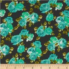 Crepe Georgette Roses Aqua/Black