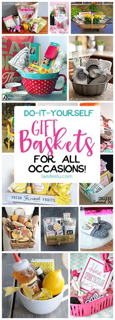 Put together a gift basket for any occasion and make someone's day! Easy do … Put together a gift basket for any occasion and make someone's day! Easy do it yourself ideas! Put together a gift basket for any occasion and make someone's day! Diy Gift Baskets, Christmas Gift Baskets, Diy Christmas Gifts, Holiday Gifts, Basket Gift, Raffle Baskets, Homemade Gift Baskets, Gift Baskets For Women, Themed Gift Baskets