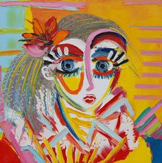 Portrait jaune - 50 x 50 cm - Huile sur toile