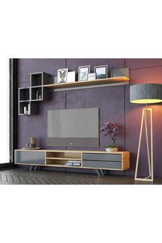 Tv Unit Interior Design, Tv Unit Furniture Design, Tv Wall Design, Home Decor Furniture, Bed Design, Desk In Living Room, Living Room Photos, Wood Tv Unit, Laptop Desk For Bed