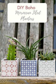 Make Beautiful Moroccan Planters In Under 10 Minutes These gorgeous Boho Moroccan planters actually take less than 5 minutes to make. All you need is some cheap sample Moroccan style tiles and superglue. Crafts For Teens To Make, Diy Crafts To Sell, Easy Crafts, Easy Diy, Dollar Store Crafts, Dollar Stores, Diy Craft Projects, Craft Ideas, Diy Ideas