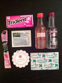 Bachelorette Gift Bags Gum for fresh breath, Advil for the next morning, Energy drink mix, Spirits, Bandaids for sore tootsies