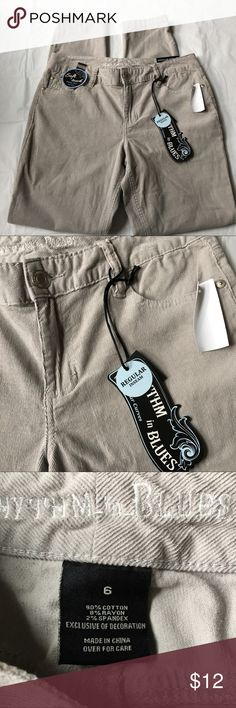 """NEW Gray Corduroy Pants Size 6 Brand new with attached tags. Size 6. Waist is 16"""" across, rise is 9.5"""", inseam is 29.5"""". Retail $39.99. Price is firm. Rythm in Blues  Pants Skinny"""