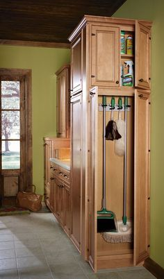Tremendous Pull Out Pantry Storage With Broom Closet
