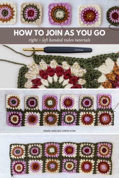 Learn how to join crochet granny squares as you go in order to create a flat seam (without any actual seaming!) Perfect for granny square blankets, afghans, sweaters and jackets. Granny Square Slippers, Crochet Granny Square Afghan, Granny Square Crochet Pattern, Crochet Squares, Granny Squares, Crochet Blocks, Granny Square Sweater, Granny Granny, Knitting Patterns
