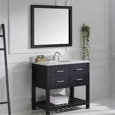 "Virtu Caroline Estate 37"" Single Bathroom Vanity Set with Mirror & Reviews | Wayfair.ca"