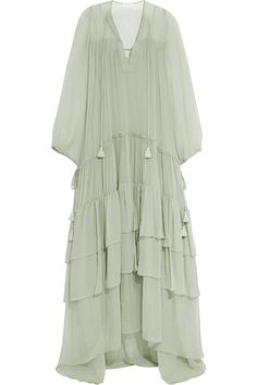 Chloé | Tiered silk-mousseline maxi dress | NET-A-PORTER.COM
