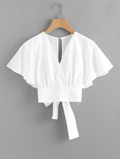 Shop Deep V-cut Split Back Bow Tie Blouse online. ROMWE offers Deep V-cut Split Back Bow Tie Blouse & more to fit your fashionable needs. Fashion Clothes, Fashion Dresses, Bow Tie Blouse, White Blouse Outfit, Crop Blouse, Batwing Sleeve, Mode Inspiration, Mode Style, Types Of Sleeves