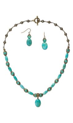 Single-Strand Necklace and Earring Set with Turquoise Gemstone Beads and Cabochon, Antiqued Brass-Colored Brass Bead Caps and Antiqued Gold-Plated Brass Chain