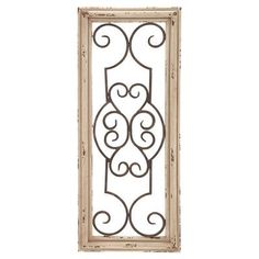 Six for in front of window over bed.Distressed wood and metal wall panel. Product: Wall panel Construction Material: Wood and metal Color: Distressed cream Features: Restored look Dimensions: H x W x D Rustic Wall Decor, Metal Wall Decor, Metal Wall Art, Tuscan Decor, Metal Wall Panel, Metal Panels, Decorative Wall Panels, Decorative Pillows, Weathered Wood