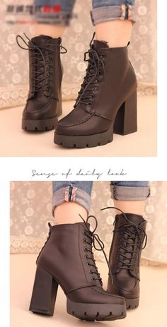 Lace-Up Chunky-Heel Ankle Boots - IYATO | YESSTYLE