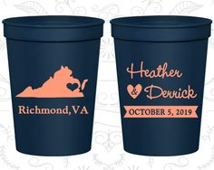 Virginia Wedding Cups, Virginia Wedding, Personalized Stadium Cups, Destination Wedding, State Cups, Plastic Party Cups (145)