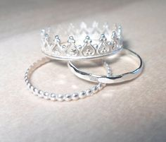 Princess Ring, Crown Ring -Crown ring Stacking Set-Sterling silver princess ring stacking rings-Crown stacking ring set-Bridesmaid gifts on Etsy, $30.66 AUD