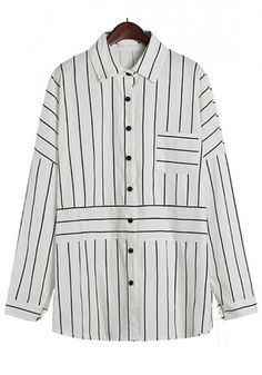 Beige Striped Pockets Buttons Bat Sleeve Blouse
