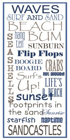 Subway Art Sign  Beach Typography Print 10x20 by PaperBleu on Etsy, $23.00
