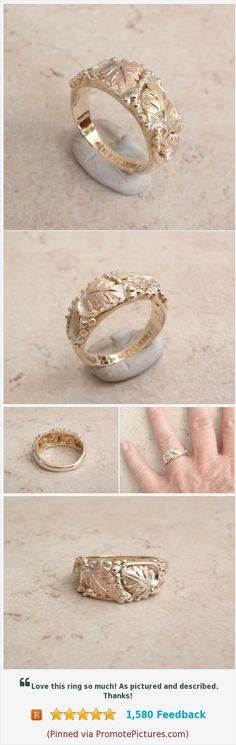 Black Hills Gold Ring #blackhillsgoldring #leafmotif #vintagering https://www.etsy.com/cutterstone/listing/572937079/black-hills-gold-ring-tri-color-10k-size?ref=shop_home_active_2  (Pinned using https://PromotePictures.com)