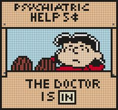 Lucy, The Doctor Is In (from Snoopy And The Peanuts Gang) Square Perler Bead Pattern / Bead Sprite