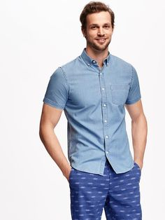 Slim-FIt Chambray Shirt For Men