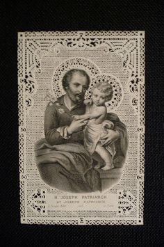 Antique holy card Paper lace Saint Joseph Patriarch par PapersOfOld, $18.00