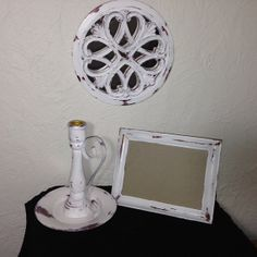 shabby chic set morror picture frame and candle by MySugarBlossom, $24.00