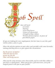 Magick Spells: Job - Pinned by The Mystic's Emporium on Etsy Wiccan Spell Book, Witch Spell, Spell Books, Luck Spells, Money Spells, Wicca Witchcraft, Magick Spells, Hoodoo Spells, Gypsy Spells
