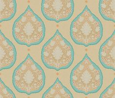 Heritage in Bright Turquoise and Coral fabric by sparrowsong on Spoonflower - custom fabric