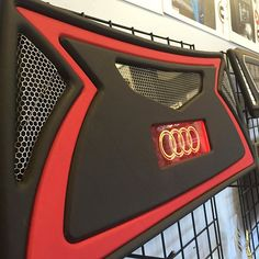car audio custom install trunk mesh sub enclosure walled off audi leds predator template red and black