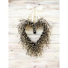 Valentine Wreath-Wedding Wreath-Heart Wreath-Wedding Decor-Winter... ($65) ❤ liked on Polyvore featuring home, home decor, decorations, weddings, white, door wreaths, white berry wreath, rustic home decor, outdoor wreaths and berry wreath