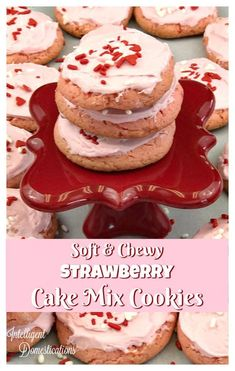 Soft and Chewy Strawberry Cake Mix Cookie recipe. How to make cookies from cake mix. Cake Mix Cookie Recipes, Yummy Cookies, Candy Recipes, Dessert Recipes, Holiday Recipes, Cookies Soft, Cake Mixes, Strawberry Cake Mix Cookies, Strawberry Desserts