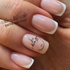 Give life to your nude nails by adding white polish on the tips with flower details on them Fancy Nails, Love Nails, Pink Nails, My Nails, White Nails, Perfect Nails, Gorgeous Nails, Pretty Nails, Nail Manicure