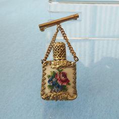 Perfume Bottle Brooch Vintage 1940s Brass & by elliemaesantiques
