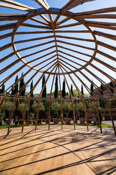 As the architects weren't able to travel to Venice to install the structure, they collaborated with craftspeople from Venice to assemble the components on-site. Bamboo Architecture, Amazing Architecture, Places Around The World, Around The Worlds, Bamboo Structure, Art Village, Bamboo Design, Desert Art, Venice Biennale