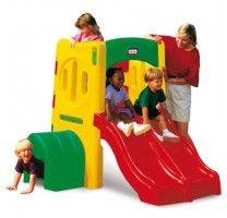 gimnasio exterior para niños con tunel y tobogan doble