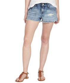 Cult of Individuality light wash distressed cotton denim 'Tantra' frayed cutoff shorts